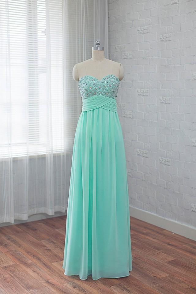 wedding photo - chiffon bridesmaids dress, long prom dress, mint evening dress, formal dress