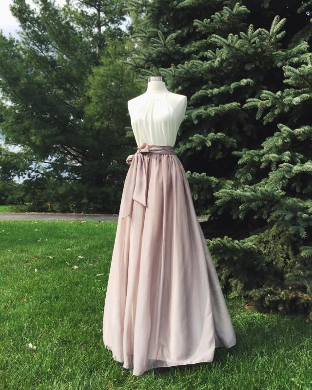 wedding photo - Chiffon skirt, any length and color Bridesmaid skirt, floor length, tea length, knee length empire waist  chiffon skirt