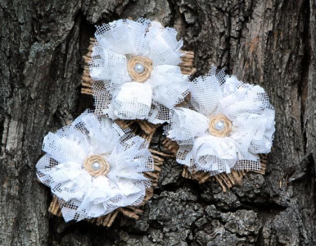 wedding photo - White Shabby Chic Burlap Flowers Set of 3 handmade fabric rosettes with white lace Cake topper Burlap roses Wedding Flowers Bridal Decor