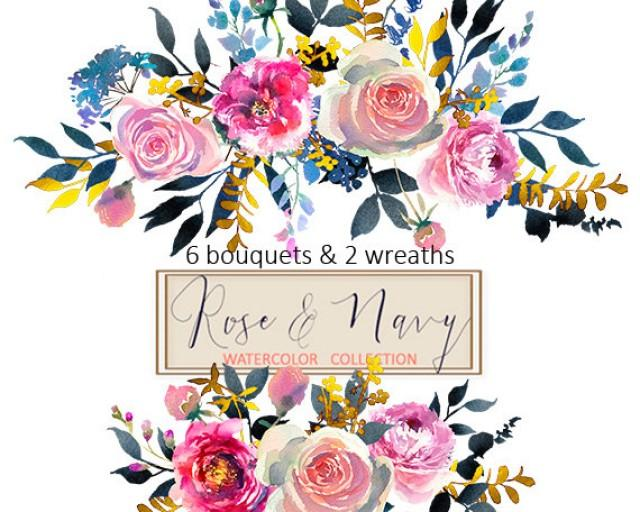 wedding photo - Watercolor Flowers Digital Clipart PNG Bouquets Peonies Roses Floral Wedding Clip Art Set Coral Red Purple Indigo Invitation Logo Boarder