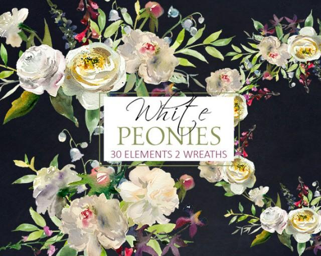 wedding photo - White Peony Flowersl Watercolor Clipart PNG Digital Files White Yellow Roses Peonies Floral Winter Wedding Clip Art Set Free Commercial Use