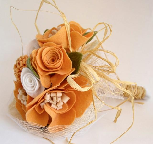 wedding photo - Orange Felt Flower Bouquet ,Alternative Wedding Bouquet, Bridal bouquet felt flowers, Bridesmaid bouquet orange felt. Rustic felt bouquet.