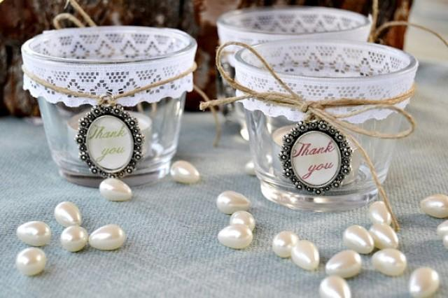 wedding photo - 4 Wedding Glass Candle Holders Lace Personalized cameo.Set 4.Rustic Wedding Centerpiece.Tealight Holder Wedding favor.Candle Wedding Table.