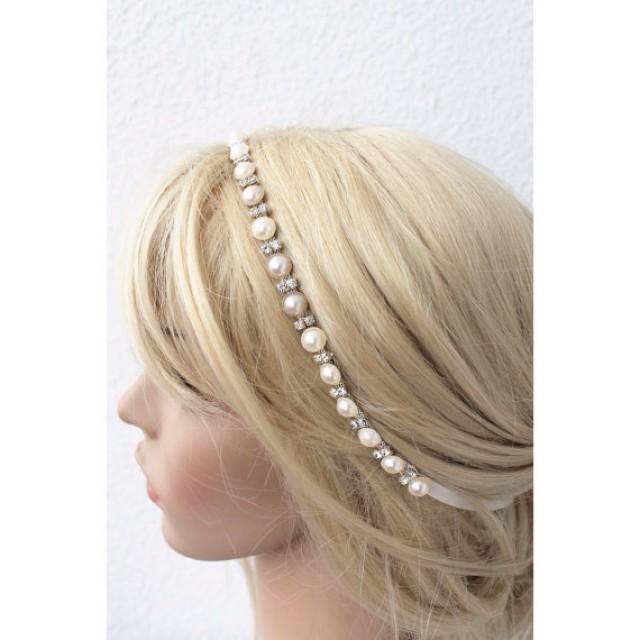 wedding photo - bridal tiara, ivory headband, wedding head piece, pearl and rhinestone halo, brides accessories, gift for her, hair flowers