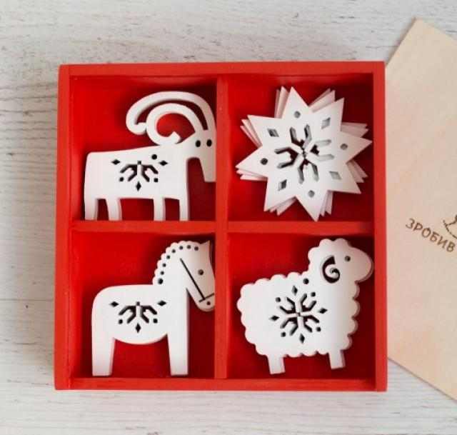 Wooden animals ornaments wood christmas decoration
