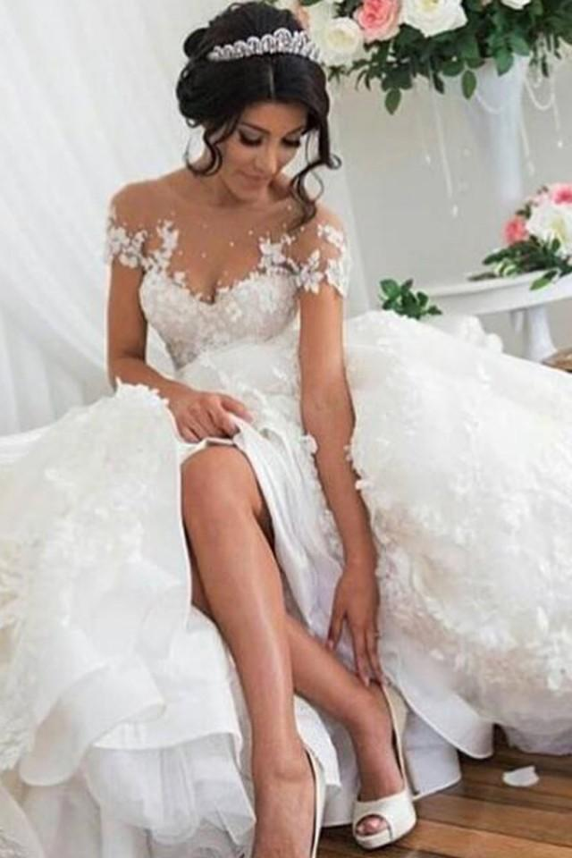 wedding photo - Nectarean Illusion Jewel Short Sleeves Hi-Low Wedding Dress with Lace Patchwork