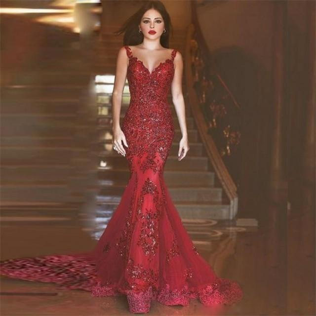 wedding photo - Gorgeous Red Mermaid V-neck Sleevess Illusion Back Prom Dress with Beading Appliques from Tidetell