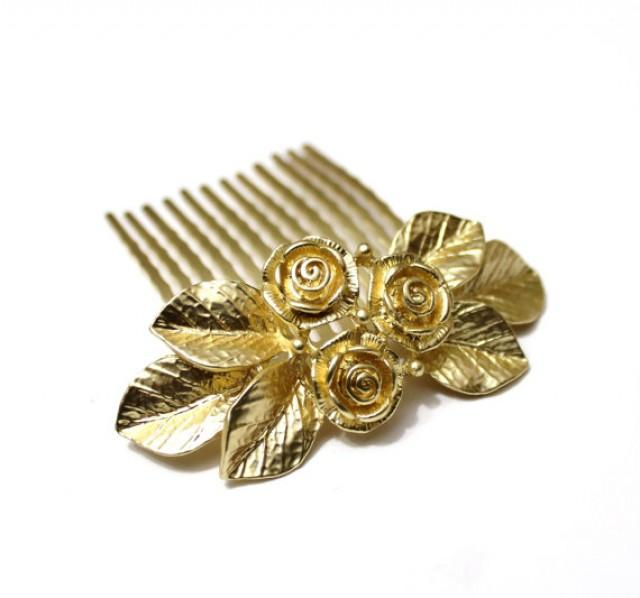 wedding photo - Bridal Hair Comb, Gold Rose Flowers, Wedding Hair Accessory, Gold Leaf Hair Comb, Vintage Wedding Garden, Wedding Flower Comb