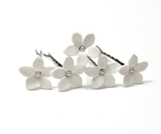 wedding photo - White Jasmine Flower Accessories Hair pin - Jasmine Wedding Hair Accessories, Wedding Hair Flower Hair Small Hair Flowers - set