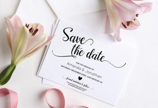 wedding photo - Wedding Save the Date Template - Save the Date Printable - Wedding Printable - Calligraphy save the date - Downloadable wedding