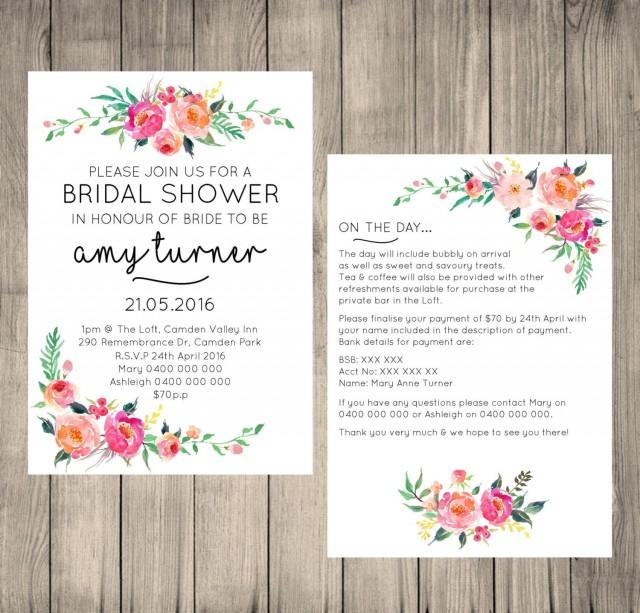 Information To Include In Wedding Invitations: Bridal Shower Digital Invitation, Customised, Floral