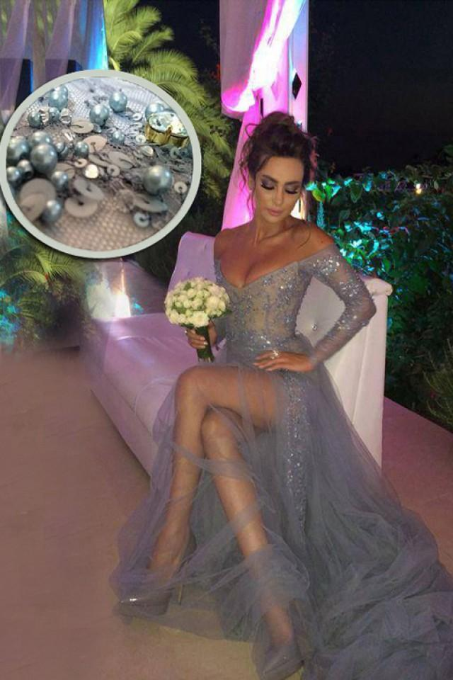 wedding photo - Long Sleeves Grey Prom/Evening Dress - Sweep Train V-neck Appliques Beading