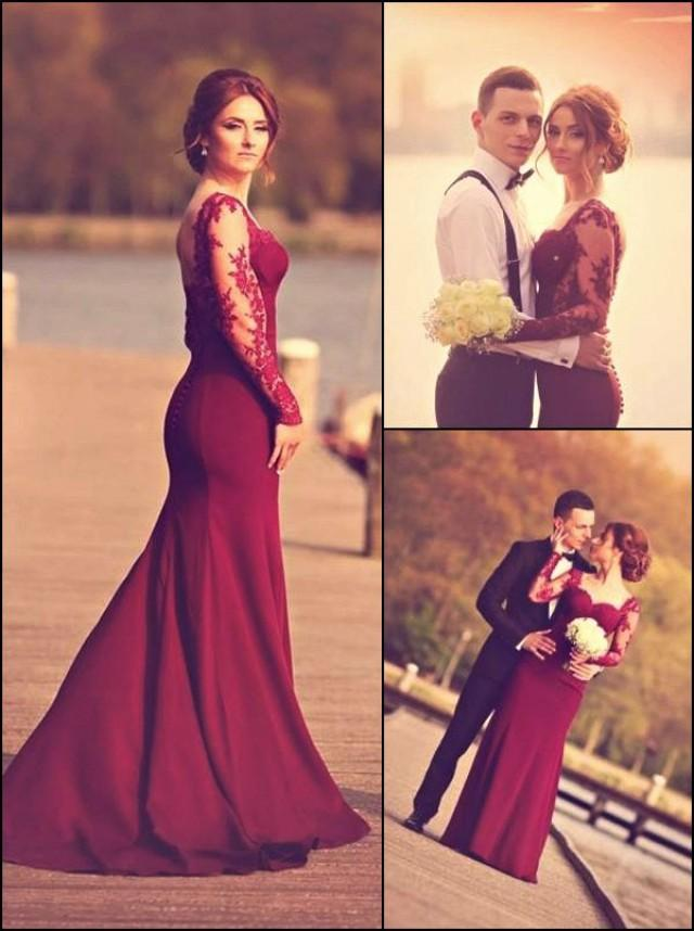 wedding photo - A-Line Sweetheart Long Sleeve Burgundy Prom Dress With Lace Appliques