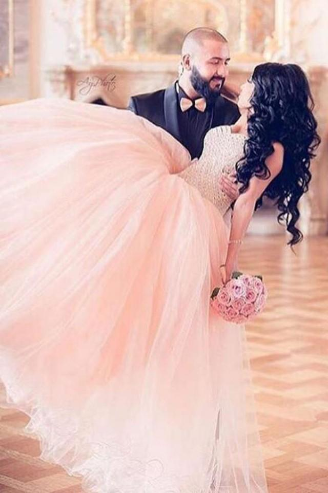 wedding photo - Glamorou Sweetheart Floor-Length Pink Prom Dress with Beading Lace-up
