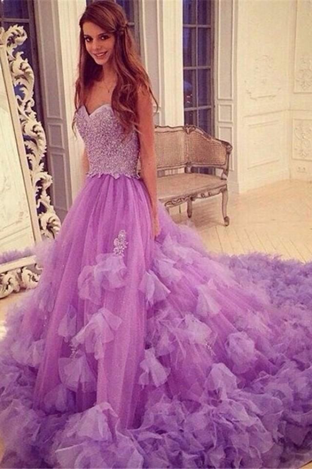 wedding photo - Stylish Sweetheart Court Train Purple Prom Dress with Beading Patchwork
