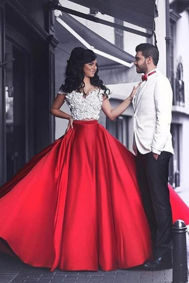 wedding photo - Modern Two Piece Off Shoulder Floor-Length Red Prom Dress with Patchwork