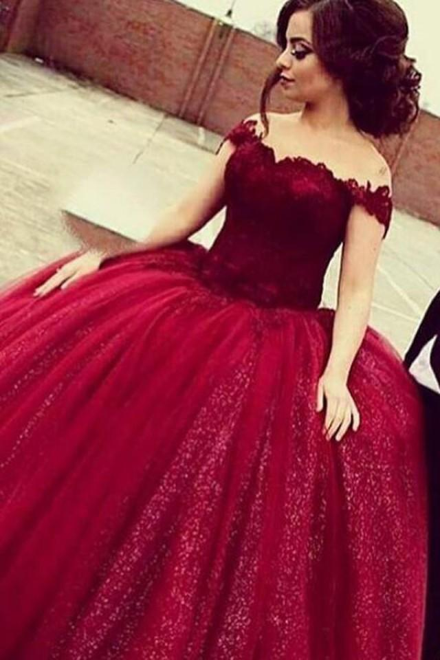 wedding photo - Glamorous Off Shoulder Floor-Length Sequins Wine Prom Dress with Lace Top