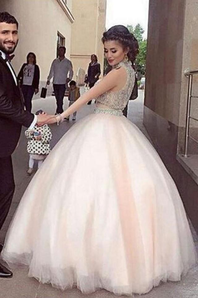 wedding photo - Fabulous High Neck Two Piece Floor-Length Prom Dress with Beading