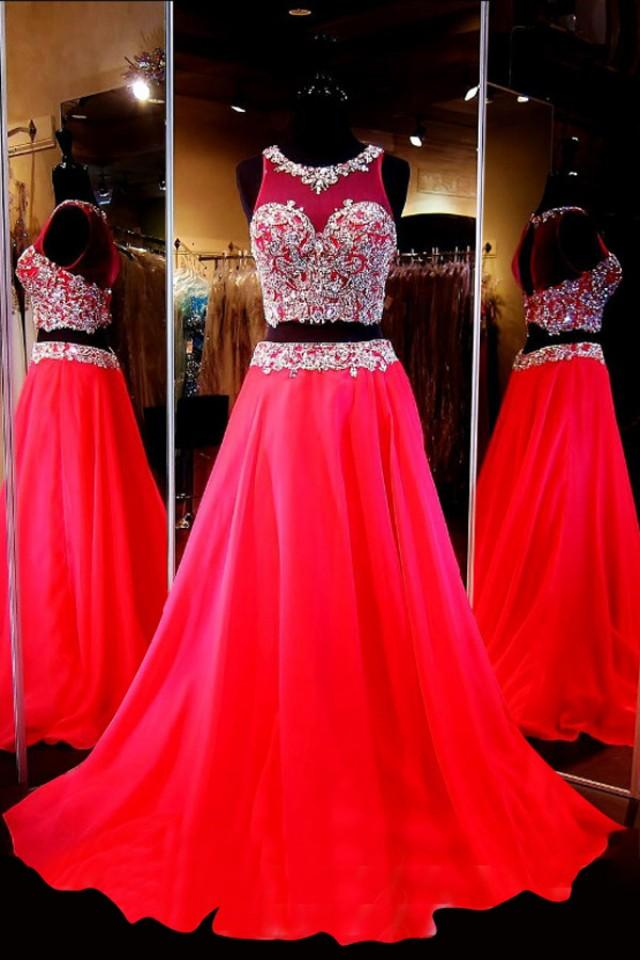 wedding photo - Generous Two-Piece Scoop Sleeveless Red Chiffon Sweep Train Prom Dress with Beading