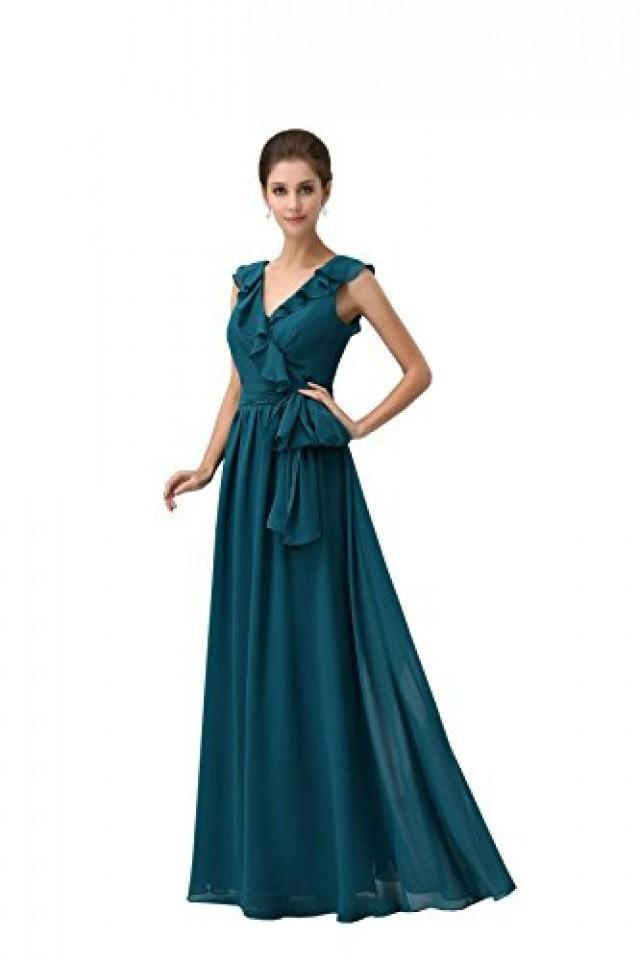 wedding photo - Angelia Bridal Dark Green Double V-Neck Flounced Women Evening Dress Long Sash