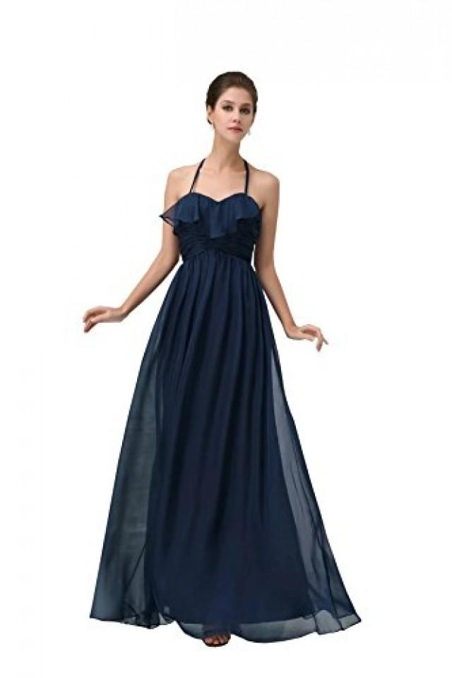 wedding photo - Angelia Bridal Women's Navy Backless Halter Prom Party Bridesmaid Long Dress