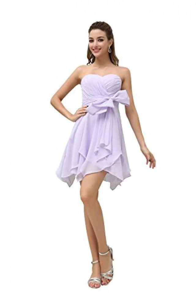 wedding photo - Angelia Bridal Women's Strapless Sweetheart Pleat Bridesmaids Dress Short