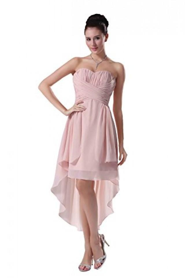 wedding photo - Angelia Bridal Strapless High Low Prom Party Bridesmaids Dress