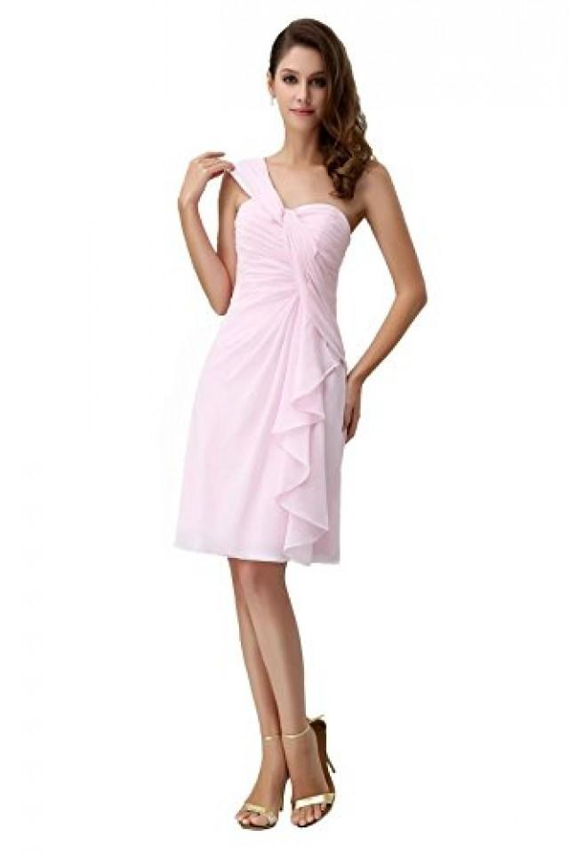 wedding photo - Angelia Bridal One Shoulder Ruffles Short Bridesmaids Dress £¨6£¬Pink )