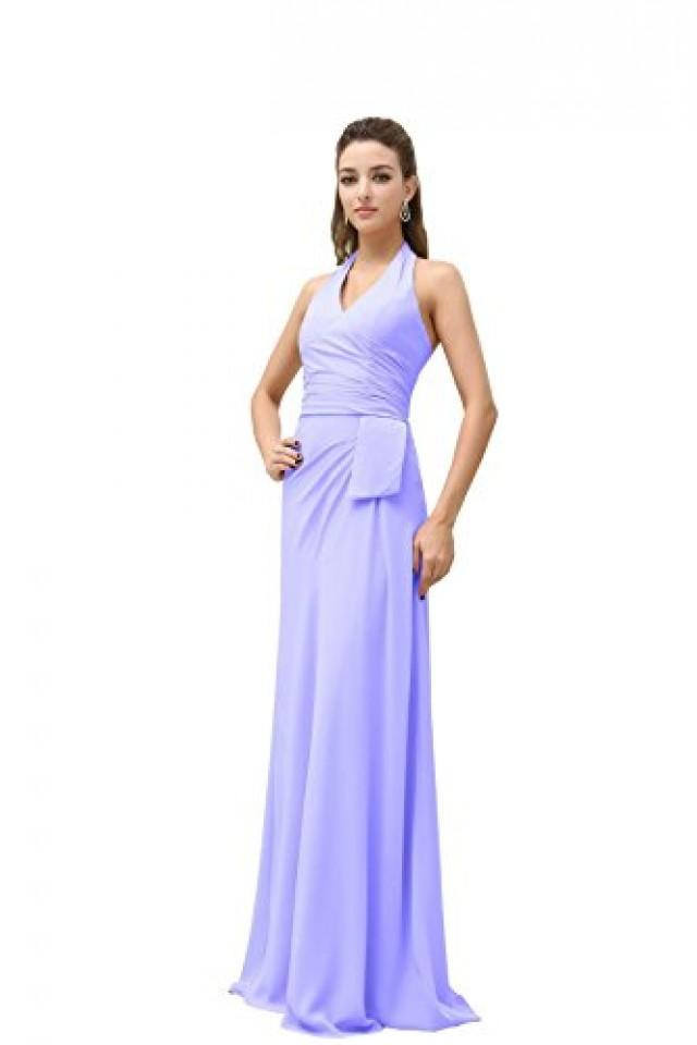 wedding photo - Angelia Bridal Women's Halter Floor Length Bridesmaids Prom Dress (6,Lavender )