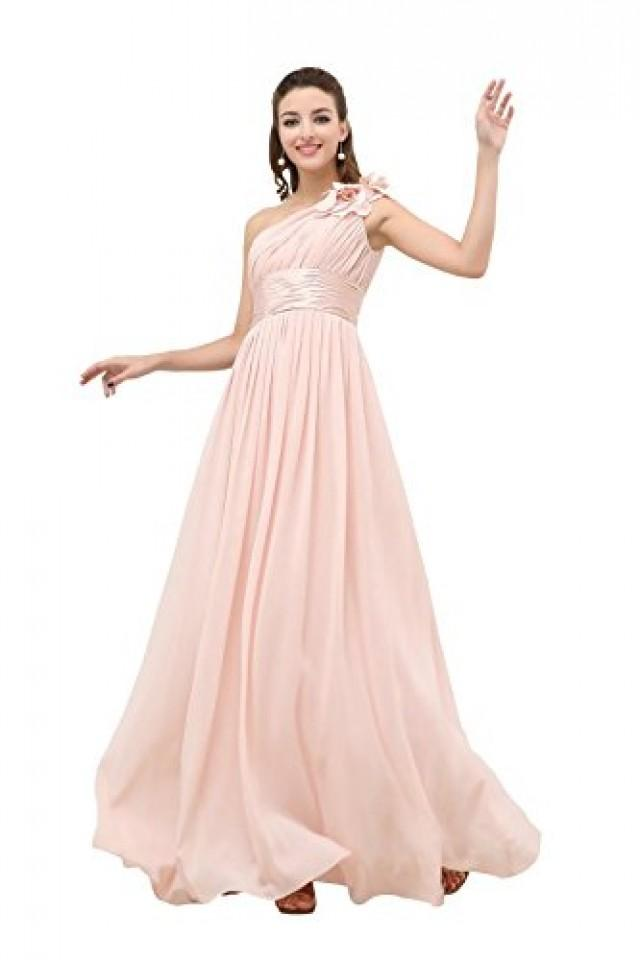 wedding photo - Angelia Bridal Flower One Shoulder Empire Waist Floor Length Bridesmaids Dress