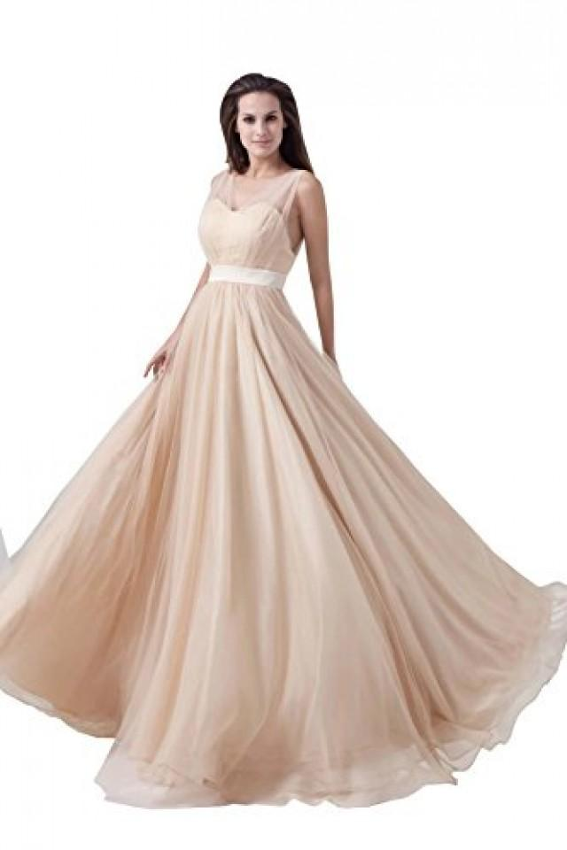 wedding photo - Angelia Bridal Women's Sexy Net Yarn Sleeveless Long Evening Dress