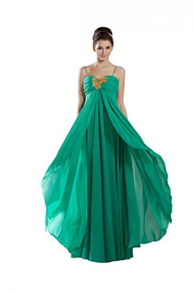 wedding photo - Angelia Bridal Women's Beaded Prom Party Dress With Spaghetti Straps (12,Green)