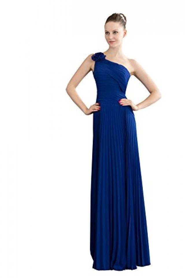 wedding photo - Angelia Bridal Flowers One Shoulder Pleated Long Prom Party Dress (14,Blue )
