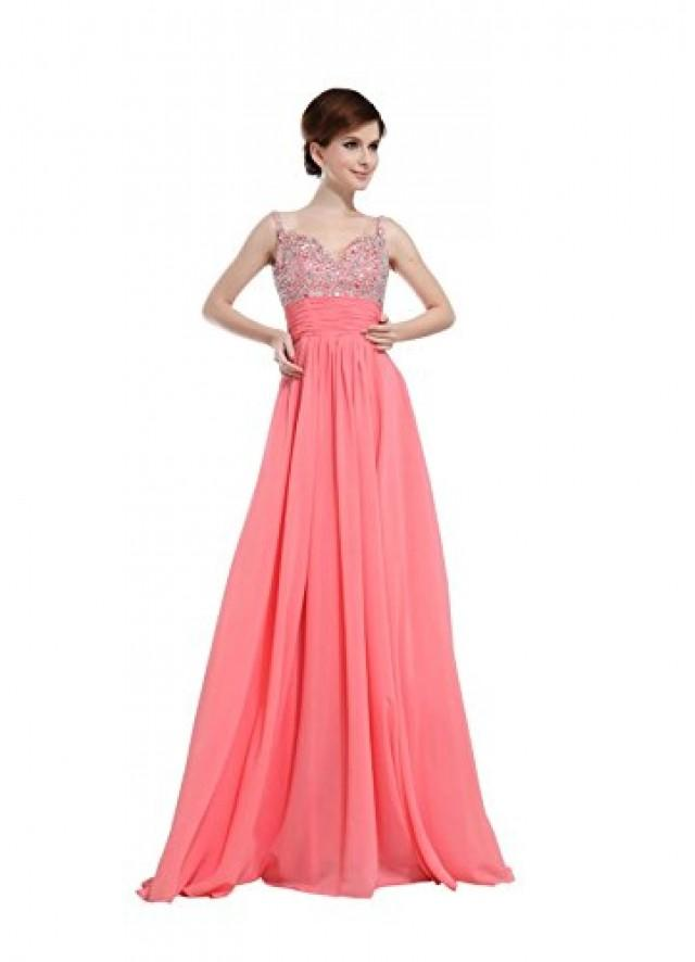 wedding photo - Angelia Bridal Women's A-line Beading Chiffon Bridesmaid Dress Prom Gown (16, Watermelon )