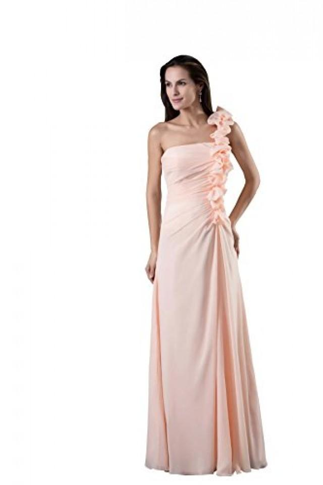 wedding photo - Angelia Bridal Strapless One Shoulder Chiffon Long Bridesmaid Dresses (14,Pink)