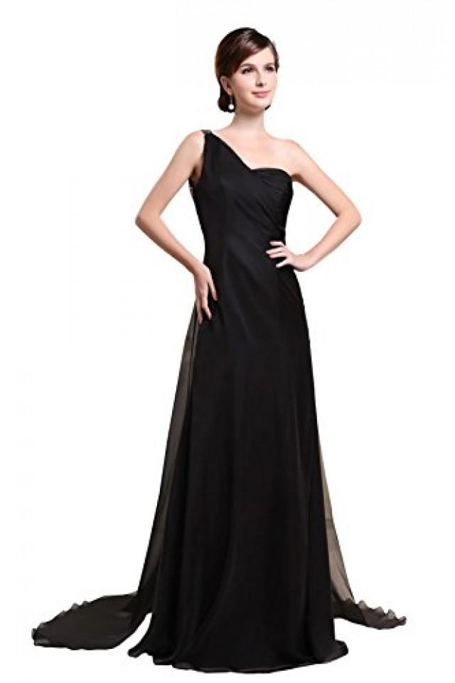 wedding photo - Angelia Bridal One Shoulder Chiffon Sequin Bridesmaids Dresses (14,Black)