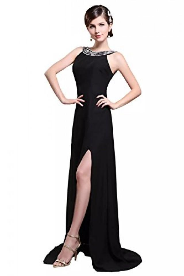 wedding photo - Angelia Bridal Women's Chiffon Beaded Jewel Split Evening Party Gowns (16,Black)