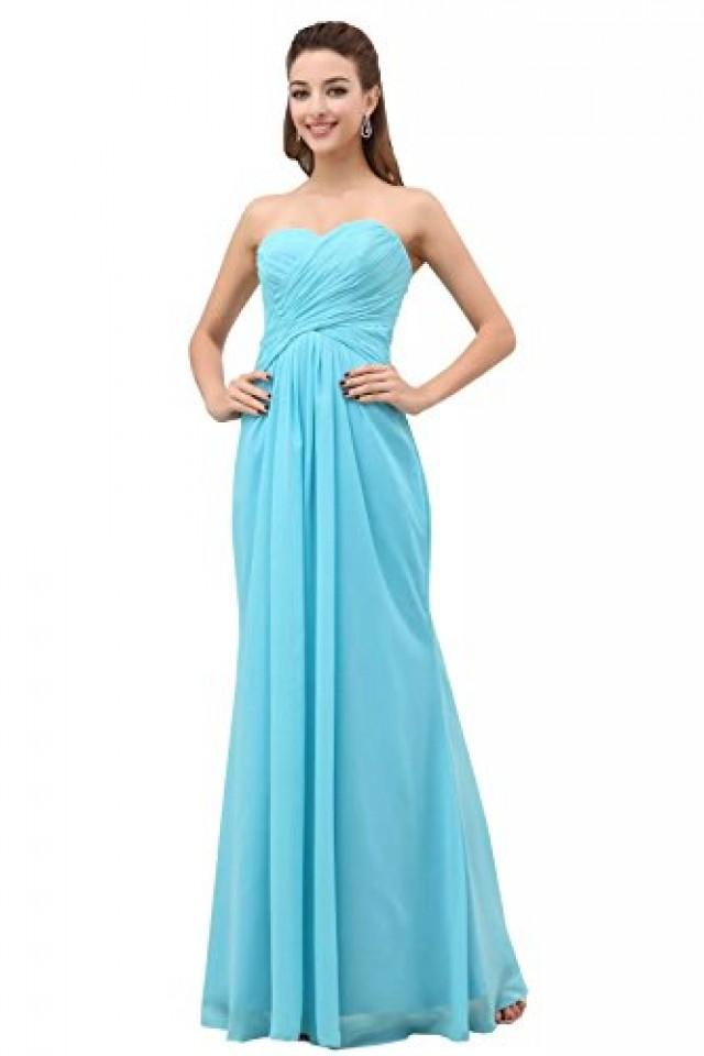wedding photo - Angelia Bridal A-Line Chiffon Bridesmaid Dress Strapless Long Prom Evening Gown (8,Sky Bule)