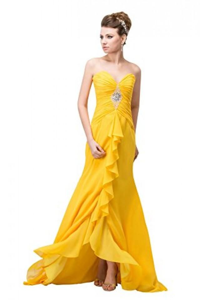 wedding photo - Angelia Bridal Sweetheart Strapless Beaded Chiffon Prom Party Dress With Court Train (16,Yellow)