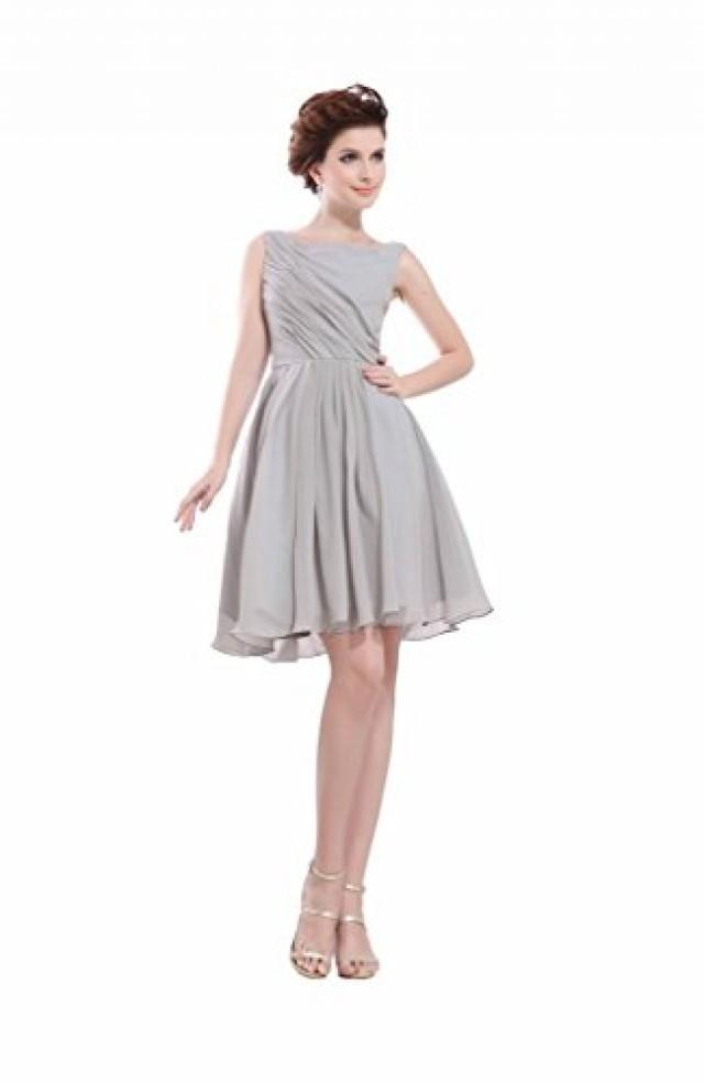 wedding photo - Angelia Bridal Women's Gray Square Neck Short Sleevless Chiffon Prom Dress (Size 8)