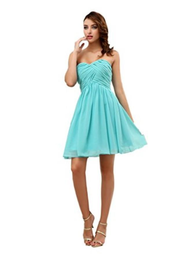 wedding photo - Angelia Bridal Women's Short Sweetheart Chiffon Bridesmaid Dress