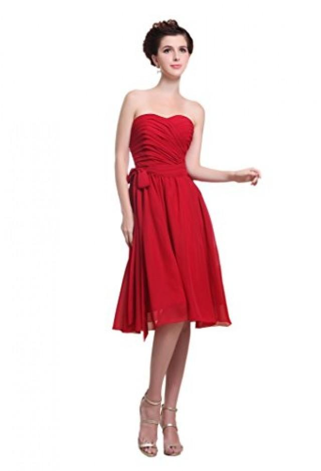 wedding photo - Angelia Bridal Women's Strapless Knee Length Sweetheart Chiffon Bridesmaid Dress (Size 8)