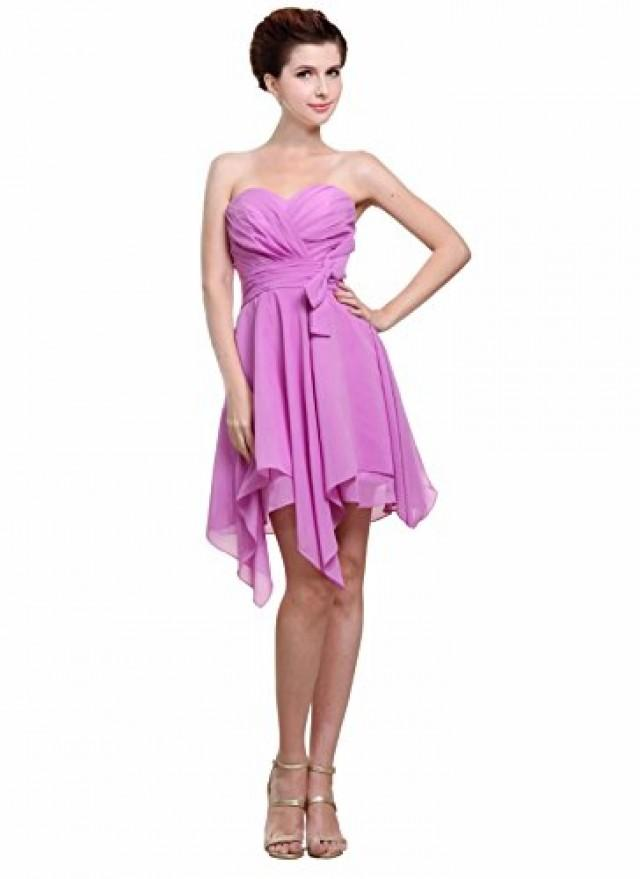wedding photo - Angelia Bridal Women's Strapless Irregular Chiffon Cocktail Dress (Size 8)
