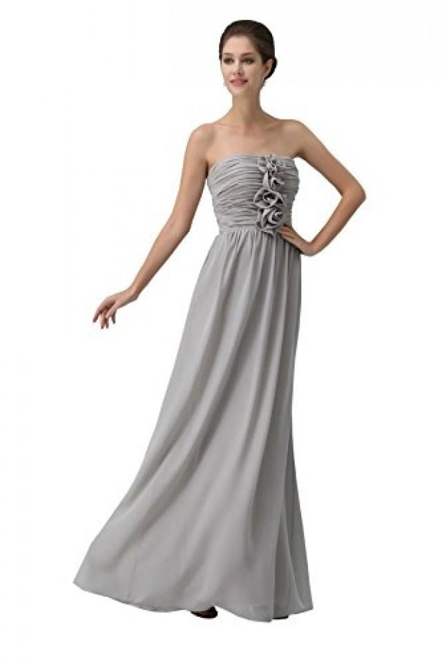 wedding photo - Angelia Bridal Women's Strapless Prom Dress Pleats Chiffon Maxi Evening Dress (16 ,Gray)