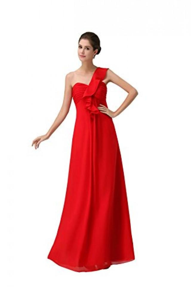 wedding photo - Angelia Bridal One-Shoulder Chiffon Red Evening Bridesmaid Party Dress (8 ,Red )