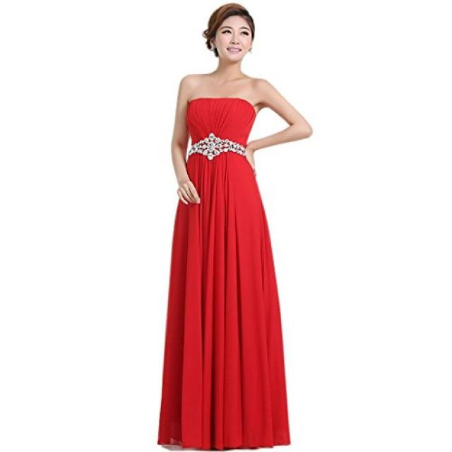 wedding photo - Angelia bridal Women's Strapless Sweetheart Chiffon Long Prom Dresses (Red 8)
