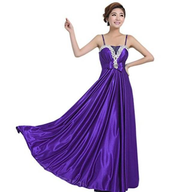 wedding photo - Angelia bridal Shoulder Straps Floor Length Satin Prom Bridesmaid Dress Long Evening Gown (Dark Purple 8)