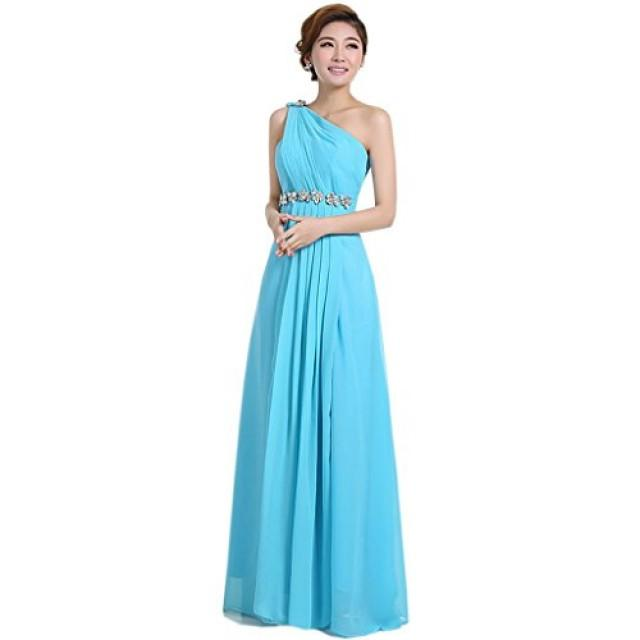 wedding photo - Angelia bridal Women's One-shoulder Floor Length Chiffon Prom Evening Dresses (Sky bule 8)