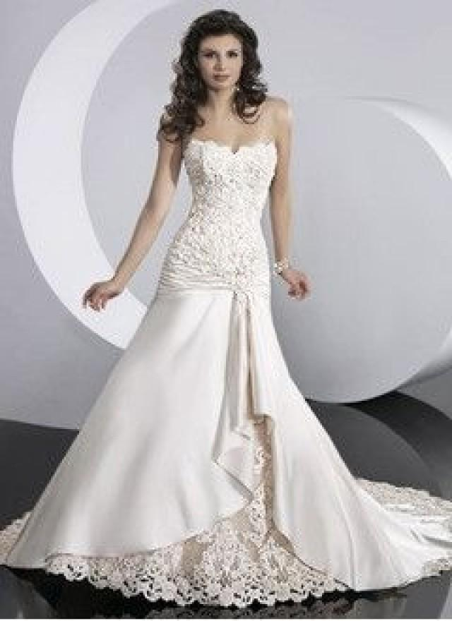 wedding photo - A-Line/Princess Sweetheart Chapel Train Satin Lace Wedding Dress With Ruffle Appliques Lace