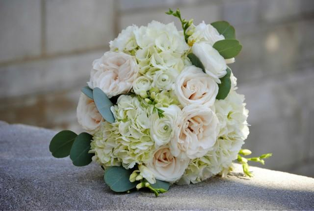wedding photo - DIY Wedding Flower Package- White Hydrangea - Fresh Flowers- White Bridal Bouquet